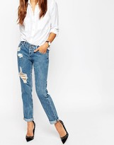 Asos Brady Boyfriend Jeans In Cypress Midwash With Rips