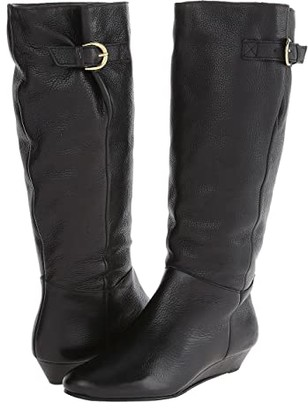 STEVEN NEW YORK Intyce Wide Calf (Black Leather) Women's Pull-on Boots