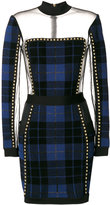 Balmain sheer panel tartan dress - women - Polyamide/Polyester/Spandex/Elastane/Brass - 36