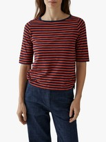 Toast Delphi Stripe Cotton Half Sleeve T-Shirt, Vivid Denim/Spiced Orange