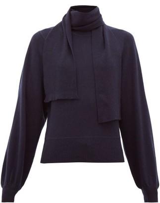 See by Chloe Tie-neck Bishop-sleeve Sweater - Womens - Dark Blue