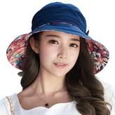 Siggi Bucket Boonie Cord Fishing Beach Cap Summer Sun Hat Bowknot Wide Brim for Women Navy