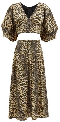 Julie De Libran - Gilda Leopard-print Two-piece Crop Top & Skirt - Animal