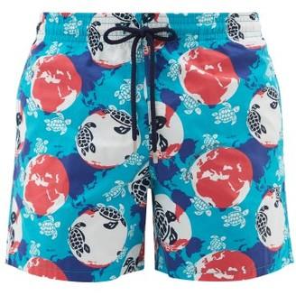 Vilebrequin Moorea Turtle-print Swim Shorts - Mens - Blue Multi