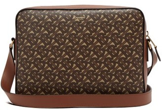 Burberry Knight Tb-monogram Coated-canvas Messenger Bag - Brown
