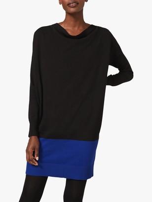 Phase Eight Londyn Colour Block Mini Dress, Black/Cobalt