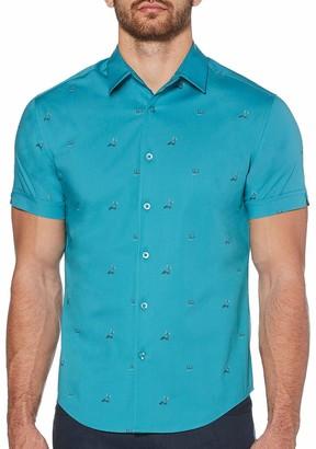 Cubavera Men's Slim Fit Mini Island Print Shirt