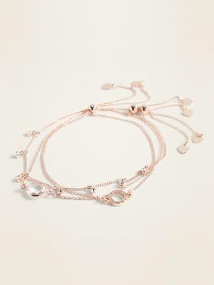Old Navy Rose-Gold Chain Charm Bracelet 3-Pack for Women