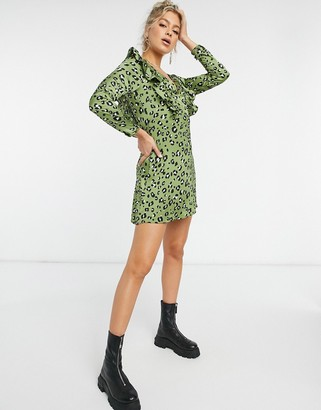 NaaNaa plunge ruffle detail long sleeve dress in green leopard