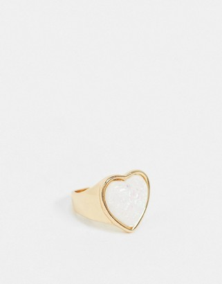 ASOS DESIGN chunky ring with opal heart stone in gold tone