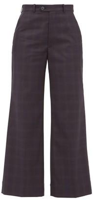 Maison Margiela Plaid Tailored Cotton Trousers - Womens - Navy Multi