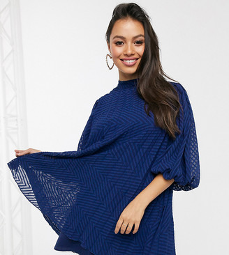 Asos DESIGN Petite pleated trapeze mini dress with puff sleeves in dobby in navy