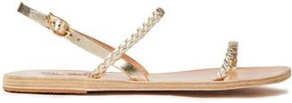 Ancient Greek Sandals Irida Braided Metallic Leather Slingback Sandals