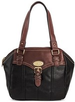 Bolo Women's Faux Leather Satchel Handbag with Back/Interior Compartments and Zipper Closure - Black/Walnut