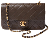 Chanel Vintage Brown Quilted Lambskin Classic Flap Small