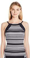 Jag Women's Ethnic Stripe High Neck Tankini