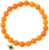 Sydney Evan 8mm Faceted Orange Agate Beaded Bracelet with 14k Yellow Gold/Diamond Small Evil Eye Charm (Made to Order)