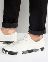 Asos Sneakers In White With Camo Sole