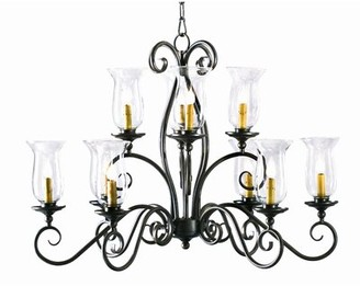 clear 2nd Ave Design 10 - Light Shaded Tiered Chandelier 2nd Ave Design Finish: Antique Iron Gate, Shade Glass Hurricane