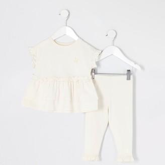 River Island Mini girls Beige peplum frill T-shirt outfit