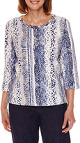 Alfred Dunner Sierra Madre 3/4 Sleeve Animal Print T-Shirt