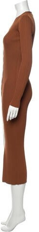 Thumbnail for your product : STAUD V-Neck Long Dress Brown