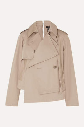 Rokh Asymmetric Cotton-gabardine Jacket - Beige