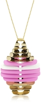 Pluma Gold, Pink and White Fishbone Pendant Necklace