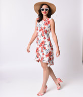 Beautifully 1970s Style White & Pink Floral High Low Crepe A-line Shift Dress