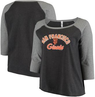 Women's Soft as a Grape Charcoal/Heathered Gray San Francisco Giants Plus Size Baseball Raglan 3/4-Sleeve T-Shirt
