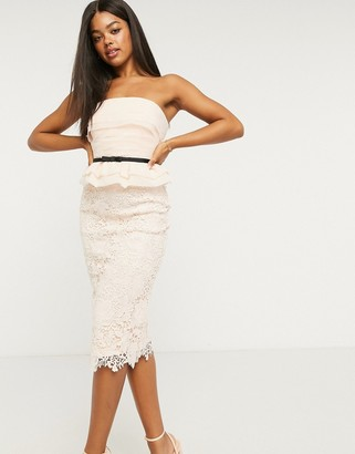 Lipsy lace bandeau pencil dress with contrast organza peplum detail in pink