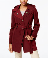London Fog Petite Layered-Collar Belted Raincoat