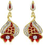 INAYA Alloy Crystal and Yellow gold Plated Danglers Set With Chaton Stone, 1 pair