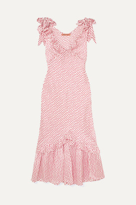 Maggie Marilyn You Can Hold Your Own Ruffled Polka-dot Silk-satin Dress - Baby pink