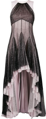 Philosophy di Lorenzo Serafini Pleated Hem Glitter Gown
