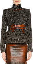 Tom Ford Couture Tweed Jacket w/Leather Trim, Chocolate