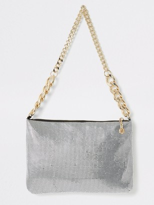 River Island Chainmail Underarm Bag - Silver