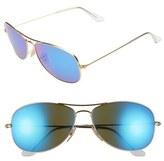 Ray-Ban Women's 'New Classic' 59Mm Aviator Sunglasses - Gold/ Blue Mirror