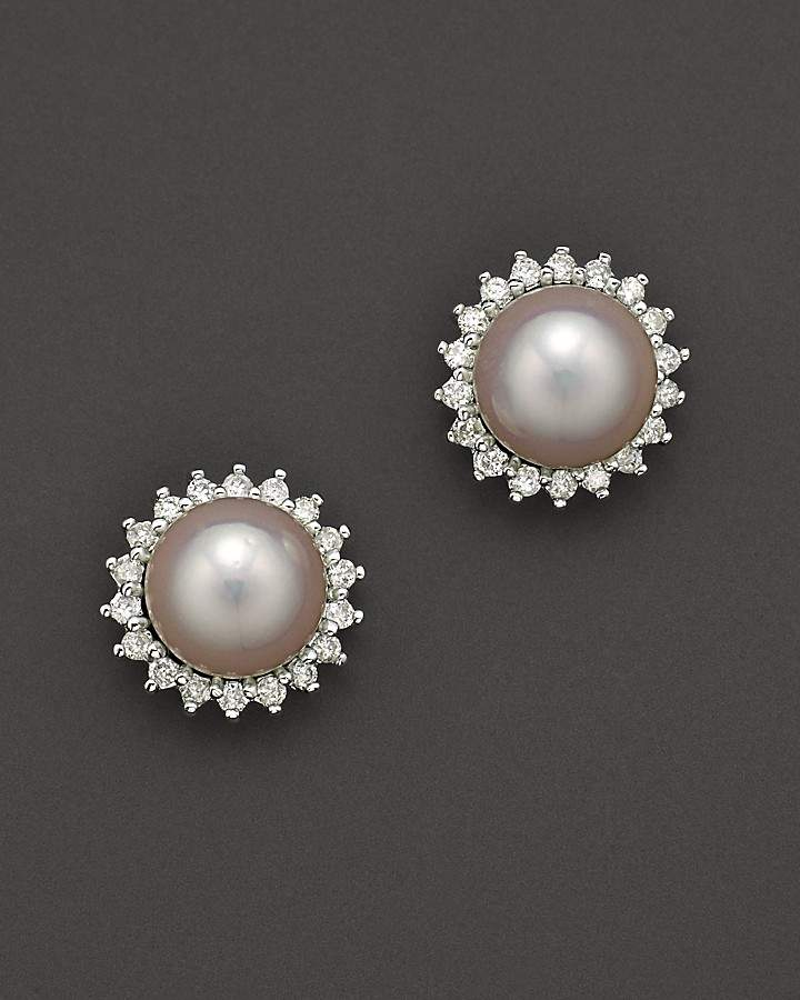 Bloomingdale's Cultured Akoya Pearl Stud Earrings with Diamonds in 14K White Gold, 6.5mm