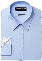 Nick Graham Men's Solid Cotton Poplin Dress Shirt- Modern Fit- Point Collar