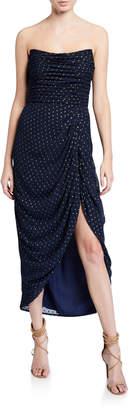 Mestiza New York Emilia Metallic Dot Ruched Strapless High-Low Midi Dress