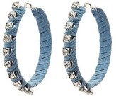 Charlotte Russe Denim & Crystal Embellished Hoop Earrings