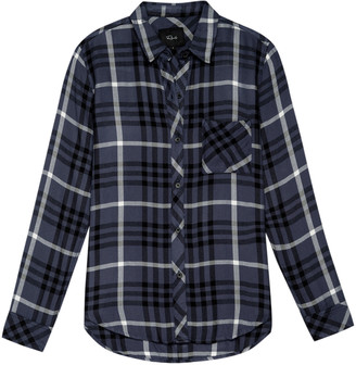 Rails Hunter Shirt Twilight Ebony White - rayon   blue   medium - Blue/Blue