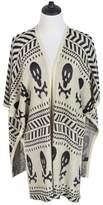 TrendsBlue Premium Skull & Bones Geometric Print Kimono Cardigan Blouse Poncho Sweater Top