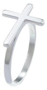 La Preciosa Sterling Silver Sideways Cross Ring
