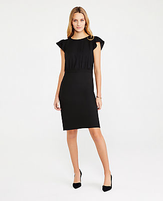 Ann Taylor The Petite Flutter Sleeve Sheath Dress in Seasonless Stretch