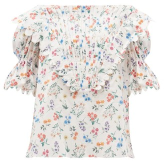 Horror Vacui Charlotte Floral-print Cotton-poplin Blouse - White Print