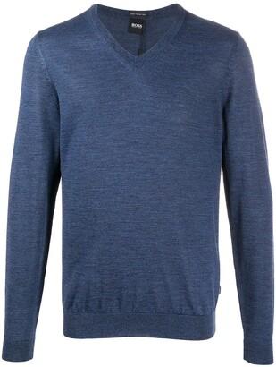 HUGO BOSS V-neck fine knit jumper
