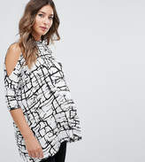 Asos Top With Cold Shoulder and High Neck in Scratchy Abstract Print