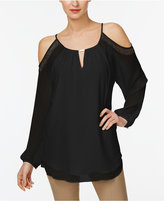 Calvin Klein Lace-Trim Cold-Shoulder Hardware Top